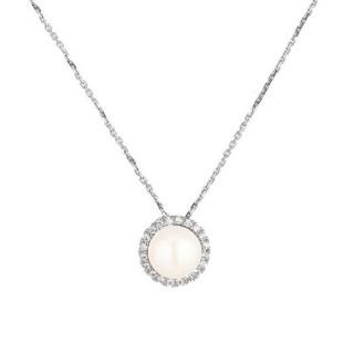 Pendentif argent, oxydes de zirconium et perle de culture Blanche  Princeza + chaîne argent offerte