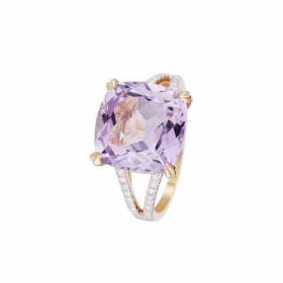 Bague Or Jaune Diamant et Améthyste Rose