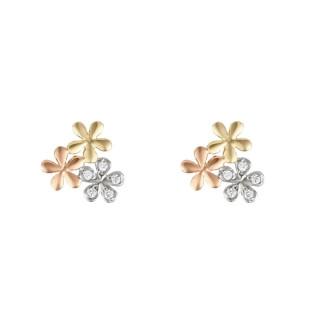Boucles d'oreilles or tricolore et oxydes de zirconium Minis Fleurs
