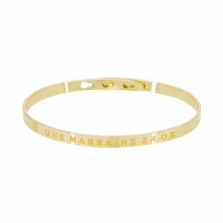 UNE MARRAINE EN OR Jonc doré bracelet à message
