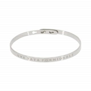 UNE TATA FORMIDABLE bracelet jonc argenté à message