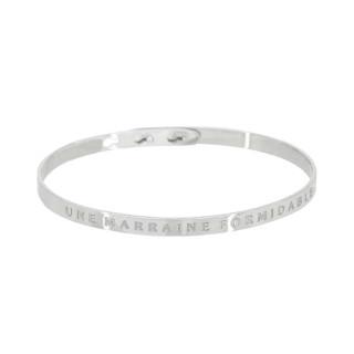 UNE MARRAINE FORMIDABLE Jonc argenté bracelet à message