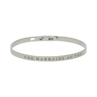 UNE MARRAINE AU TOP bracelet jonc argenté à message