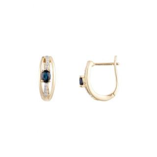 Boucles d'oreilles Or Jaune Diamant et Saphir