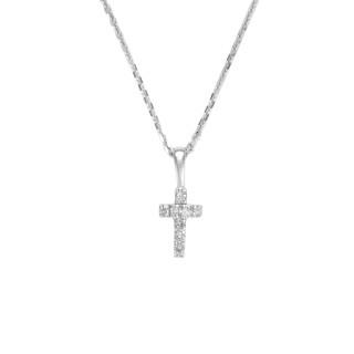 Pendentif Croix Or Blanc et Diamant