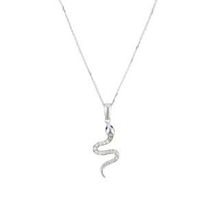 Pendentif Serpent Or Blanc et Diamant
