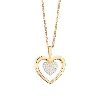Pendentif Or Jaune et Diamants 0,06 carat COEUR TENDRESSE