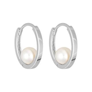 Boucles d'oreilles Or blanc  et perles