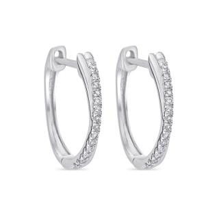 Boucles d'oreilles Or Blanc et Diamants 0,1 carat CRÉOLES GRAPHIQUES