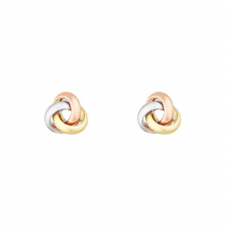 Boucles d'oreilles or tricolore Noeud tricolore