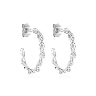 Boucles d'oreilles Or Blanc ENTORTILLEMENT Diamants 0,21 carat