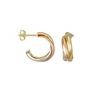 Boucles d'oreille Or Tricolore Créoles tri or
