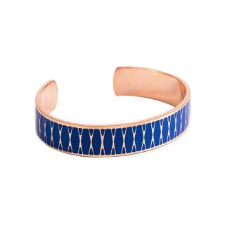 Bracelet ouvert PALMA Émail bleu finition rosée