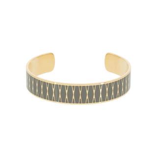 Bracelet ouvert PALMA émail Vert finition dorée