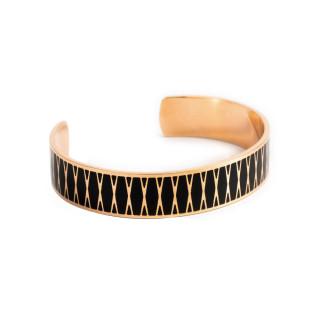 Bracelet ouvert PALMA Émail noir finition rosée