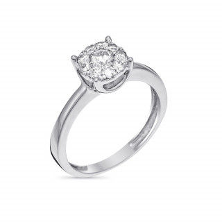 Solitaire Brillant Lucia Or blanc et Diamants