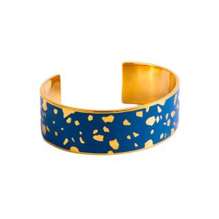 Bracelet ouvert SYDNEY émail Bleu finition dorée