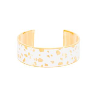 Bracelet ouvert SYDNEY émail Blanc finition dorée