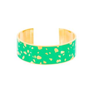 Bracelet ouvert SYDNEY émail Vert finition dorée