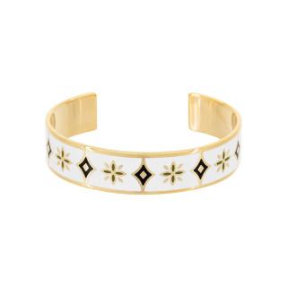 Bracelet ouvert LIFOU émail Blanc et Noir finition dorée