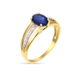 Solitaire Tria Saphir Or jaune et Diamants
