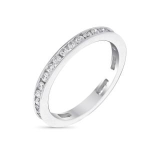 Bague Alliance Tour Complet Princière Or blanc et Diamants