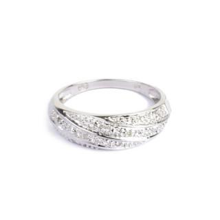 Bague Alliance Vague Or blanc et Diamants