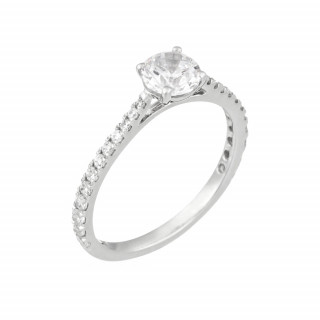 Bague Solitaire Royal Or blanc et Diamants