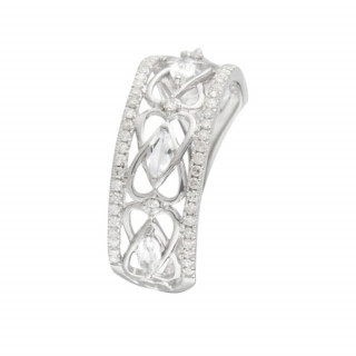 Bague Royal Topaze Or blanc et Diamants