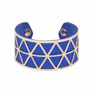 Bracelet manchette STOCKHOLM simili cuir Bleu finition dorée