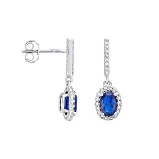 Boucles d'Oreilles Or Blanc, Diamants 0,17 carat et Saphir 1,4 carat COURTOISIE