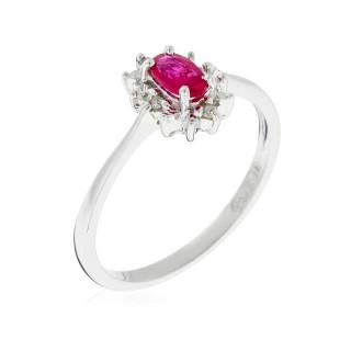 Bague Ovale Rubis Or blanc et Diamants