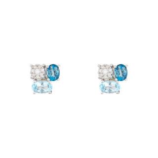 Boucles d'oreilles Or Blanc Diamant et Topaze