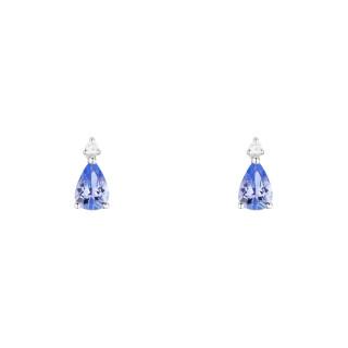 Boucles d'oreilles Or Blanc 750 GOUTTES BLEU NUIT Saphirs 0,89 carat et Diamants 0,03 carat