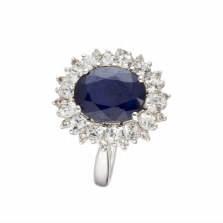Bague Soleil Bleu Saphir Or blanc et Topaze