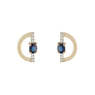 Boucles d'oreille Or Jaune 375 Diamants et Saphir