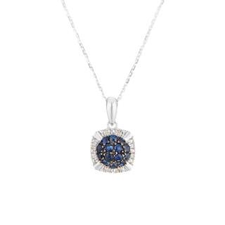 Pendentif Or Blanc 375 Diamants et Saphir