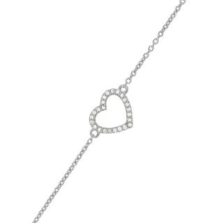 Bracelet Cœur Or Blanc et Diamant