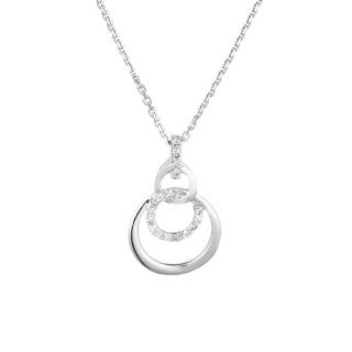 Pendentif Or Blanc et Diamants 0,06 carat NOLA + chaîne argent offerte