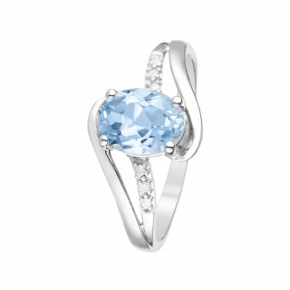 Bague Auckland Topaze Or blanc et Diamants