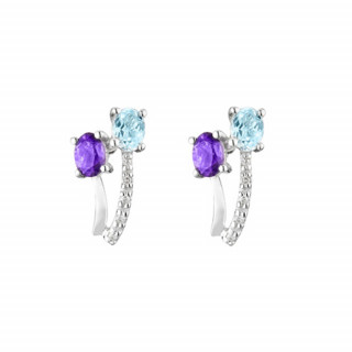 Boucles d'oreilles Or Blanc Diamant et Pierres Précieuses