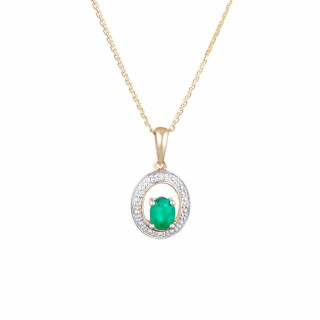 Pendentif Or Jaune Diamant et Emeraude