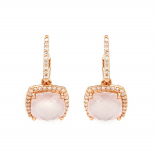 Boucles d'oreilles Or Rose Diamant et Quartz Rose