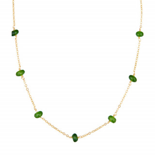 Collier doré orné de jade verte