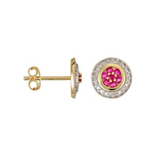Boucles d'oreilles Or Jaune, Diamants 0,09 carat et Rubis 0,3 carat BOUCLIER