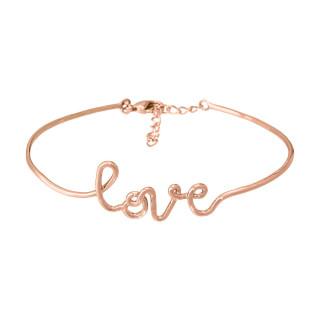 LOVE Bracelet jonc en fil lettering rosé à message