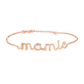 MAMIE bracelet jonc en fil lettering rosé à message