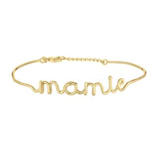 MAMIE bracelet jonc en fil lettering doré à message