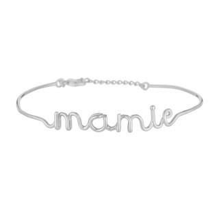 MAMIE bracelet jonc en fil lettering argenté à message