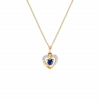 Pendentif Or Jaune Diamant et Saphir